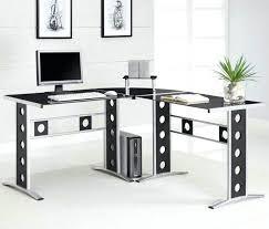 furniture interior home office breathtaking decoration design with glass desks ideas black l shaped computer desk in metal stand frame drawers keyboard