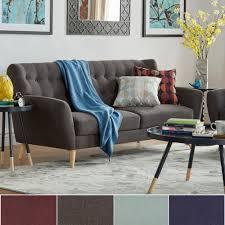 Niels Danish Modern Button Tufted Linen Fabric Sofa iNSPIRE Q Modern