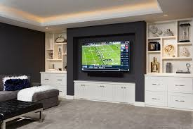 Transitional Living Room Design Fascinating Family Room Custom Built TV Wall Transitional Living Room