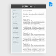 Google Cv Example Jasper Resume Cv Template Package For Google Docs