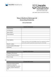 Scholarship Aplication Form Moore Markhams Chartered Accountants And Business Advisors