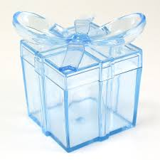 Gift box with bow Wedding Clear Square Gift Box With Bow Plastic Favor Box pack Of 12 Maple Craft Maple Craft Clear Square Gift Box With Bow Plastic Favor Box pack