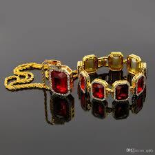 2018 fashion mens jewelry sets gold plated chain necklace ruby diamond pendant brand designer aaa rhinestone bracelets men hip hop jewellery from qqkk