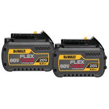 Dewalt Battery Comparison Chart Flexvolt 20 60v Max Battery Pack 6 0ah 2 Pk