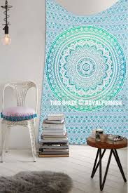 small green fl circle ombre wall tapestry mandala hippie tapestry