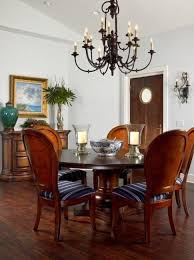 dining room round wood dining table with 6 seates plus bowl glass chandeliers gorgeous stunning
