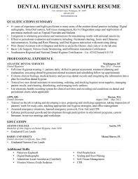 Sample Dental Hygiene Resume Free Resume Templates 2018