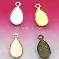 7x12mm multi color plated blank bases teardrop bezel cup w a loop connector pendant