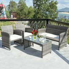 costway 4 pieces outdoor patio rattan