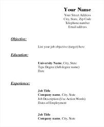 Blank Resume Template Printable Simple Free Printable Resume Template Blank Printable Resume Templates