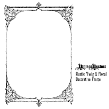 decorative frame of rustic twig branches and leafy fls