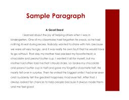 module lesson  8 sample paragraph a good deed