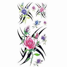 119 1ks Dámské Nepromokavé Dočasné Tetování Paže Zápěstí Krk Tetování Krásné Barevné Růže Těla Tetování 185 Cm 85