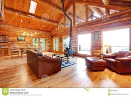 Living Room With Leather Sofa Luxury Log Cabin Living Room With Leather Sofa Stock Photo