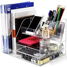 clear office desk. Desk Organizer, Clear Acrylic Organizer For Office Supplies  Accessories Storage, Large Clear Office Desk G