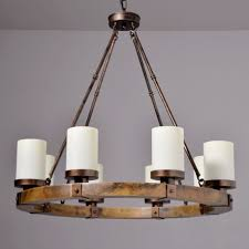 iron rod wood candle made chandelier