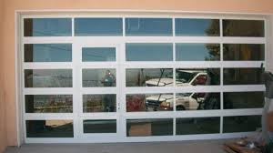 Best Clear Glass Garage Door With Passage Front View Carport Pic Of