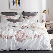 european satin white pink grey embroidery 60s egyptian cotton bedding set duvet cover bed sheet pillowcases queen king size quilt sets queen bedding