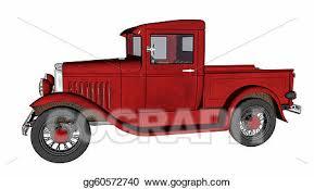 Stock Illustration - Vintage old red pickup truck. Clipart ...