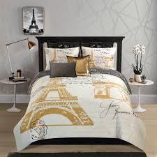 eiffel tower metallic gold print reversible comforter set full size free ship