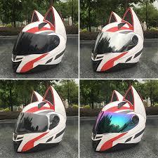 The front surface is black. Nitrinos Motorcycle Helmet Men And Women Racing Personality Four Seasons Safety Helmet Cat Ear Helmet Helmets Aliexpress