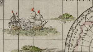 sea monster world map. Unique Monster A Map Monster Snacks On Something In The Indian Ocean Willem Janszoon  Blaeuu0027s World And Sea Monster World Map T