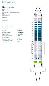 Klm Airlines Seating Chart Klm Royal Dutch Airlines Fokker 100 Aircraft Seating Map