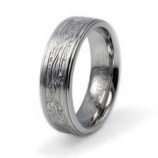Bark Design Wedding Ring Stainless Steel Ring W Tree Bark Design