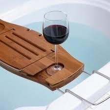 Bathtub Tray for Your Bathroom Accessories: Brown Wooden Bathtub Tray    Wooden Bath Caddy    Book HoldersGlass ...
