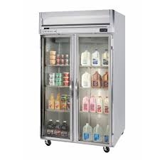 beverage air hrp2 1g led 2 section glass door reach in refrigerator with led lighting 49 cu ft ss exterior
