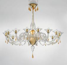 modern murano chandelier lighting clear glass and gold metal finish syl1380k16