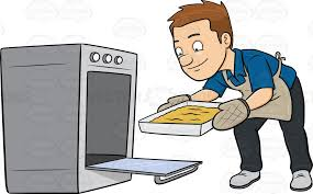 oven clipart. a man removing hot tray out of the oven clipart r