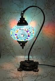 Turkish Lights Uk Turkish Mosaic Swan Neck Table Lamp Blue Galore Mosaic