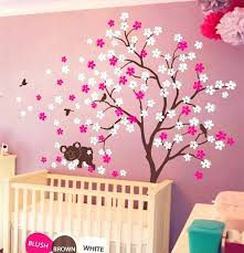 baby room wall decor koala lying blooms beneath wall sticker baby bedroom wall art decor vinyl birds and flowers decals warmly decorated room baby in wall