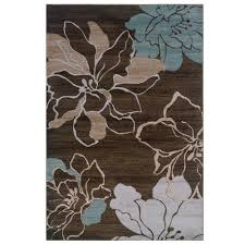 linon home decor milan collection brown and turquoise 8 ft x 10 ft indoor