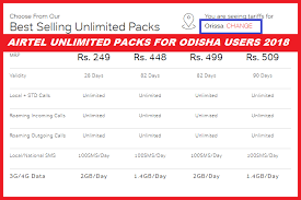 Airtel Unlimited Packs For Odisha Users 2018 Free Computer