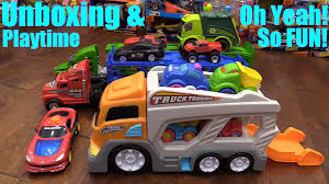 toy cars and trucks. Toy Cars And Trucks For Children: Kid Connection Car Carrier Truck Unboxing Playtime - YouTube X