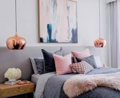H A Feminine Bedroom With Touches Of Pink And Cute Copper Pendant Lamps For  Chic Look