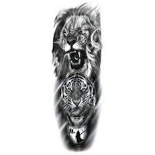Amazoncom Large Arm Sleeve Tattoo Sketch Lion Tiger Waterproof