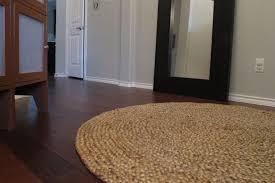 decor impressive brown natural round jute rug wood flooring area design for living room interior combined