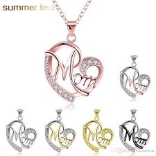 whole fashion 7 style heart with zircon mom love charm necklace love family jewelry mother pendant word gifts whole 2018 new arrived rose gold
