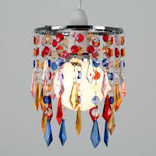 modern chrome multi coloured ceiling pendant light lamp shade jewel chandelier
