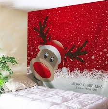 red w91 inch l71 inch christmas reindeer print wall art tapestry rosegal  on christmas wall art tapestry with red w91 inch l71 inch christmas reindeer print wall art tapestry