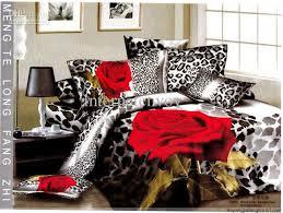 red rose flower leopard print bedding sets egyptian cotton full queen king duvet cover flat
