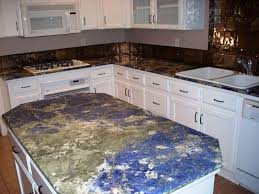 blue pearl granite countertop with white cabinets