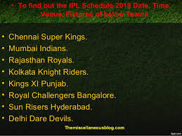 Ipl 2018 Full Schedule And Venues