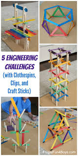 5 engineering challenges with clothespins binder clips and craft sticks