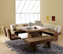 Contemporary Dining Room Design with Square Wooden Dining Room Table,  Corner Bench Seat Dining Table, and Rectangular Shaped Grey Fluffy Rug