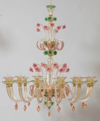 traditional chandelier crystal murano glass incandescent 1614 12 crystal green rose gold
