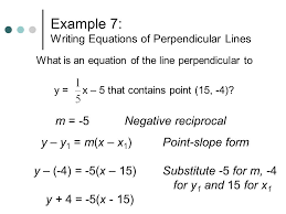 use point slope form to write the equation writing equations of perpendicular lines 12 example